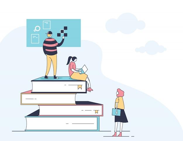Education en ligne mobile Vecteur Premium