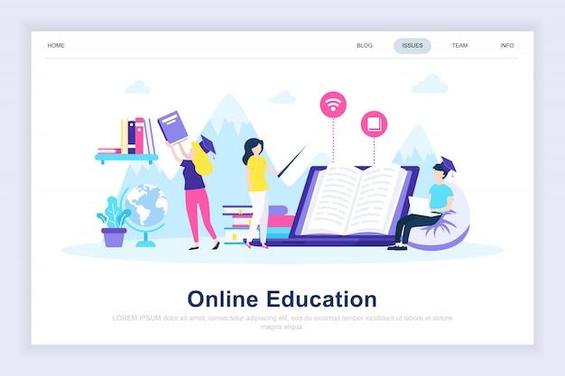 Éducation en ligne moderne page de destination plate Vecteur Premium