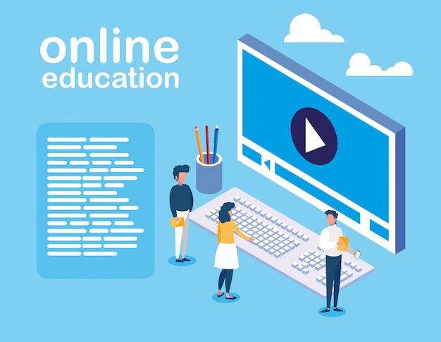 Education En Ligne Avec Ordinateur Et Mini-personnes Vecteur Premium
