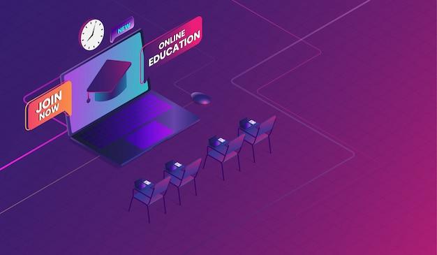 Education en ligne avec ordinateur portable, cours de formation en ligne Vecteur Premium