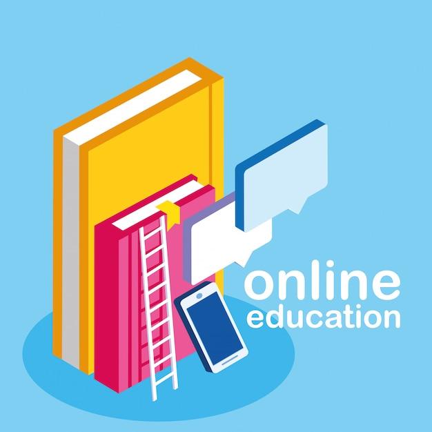 Education En Ligne Avec Smartphone Et Ebooks Vecteur Premium