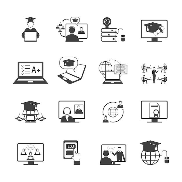 Éducation en ligne vidéo apprentissage icône de graduation numérique set noir isolé illustration vectorielle Vecteur Premium