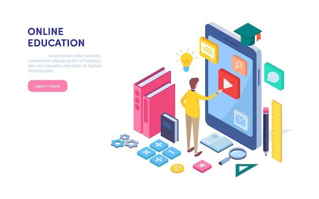 Éducation en ligne. Vecteur Premium