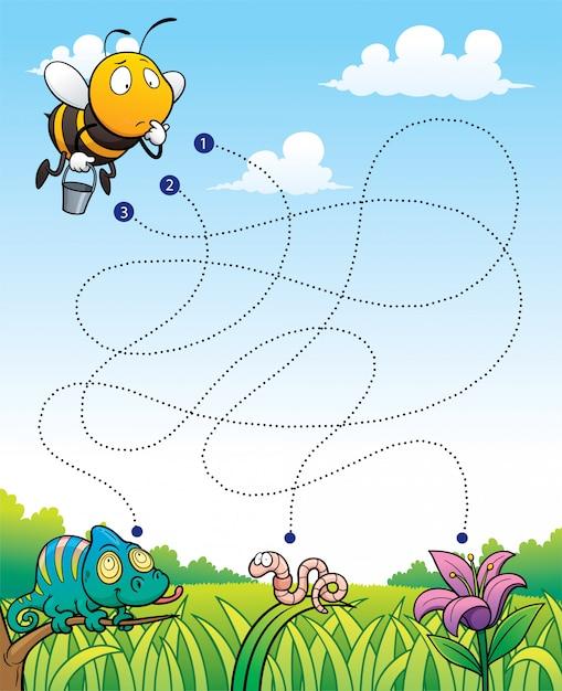 Education Maze Game Bee Avec Fleur Vecteur Premium