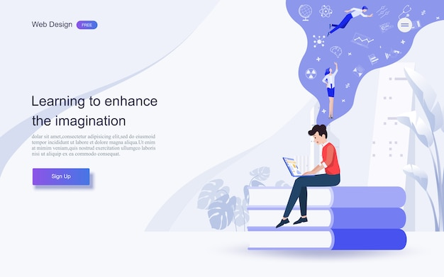 Éducation pour le site web et le modèle de page de destination. éducation en ligne, formation et cours, apprentissage, Vecteur Premium
