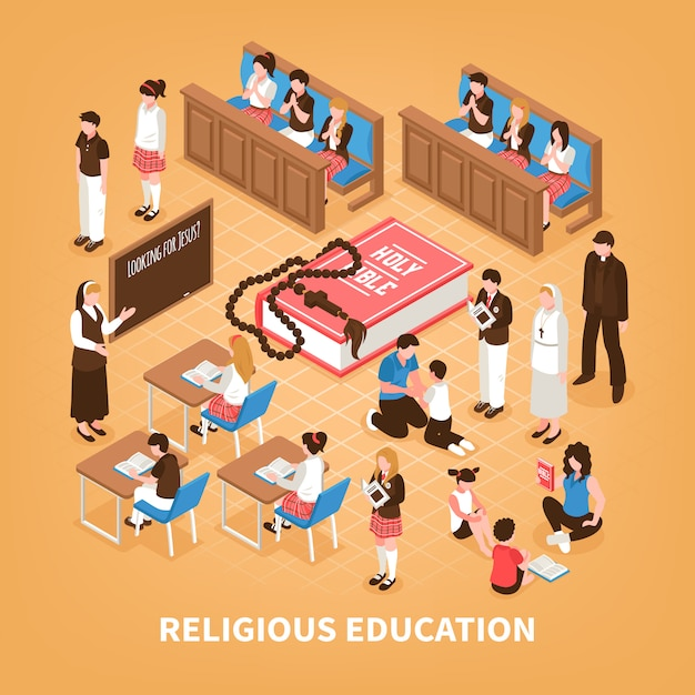 Éducation Religieuse Composition Isométrique école Du Dimanche Pour Les Enfants Lecture De La Bible à La Maison Prière Dans L'église Illustration Vecteur gratuit