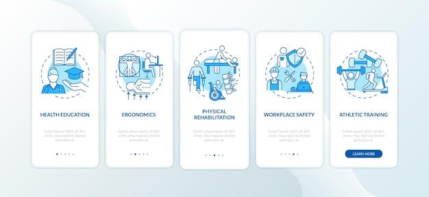 Éducation à La Santé Bleu Sur L'écran De La Page De L'application Mobile D'embarquement Avec Des Concepts. Vecteur Premium