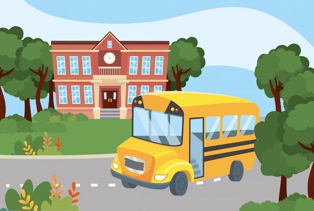 Education scolaire avec son transport en bus pour les étudiants Vecteur gratuit