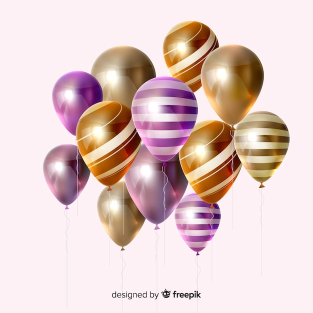 Effet 3d de ballons colorés à rayures Vecteur gratuit