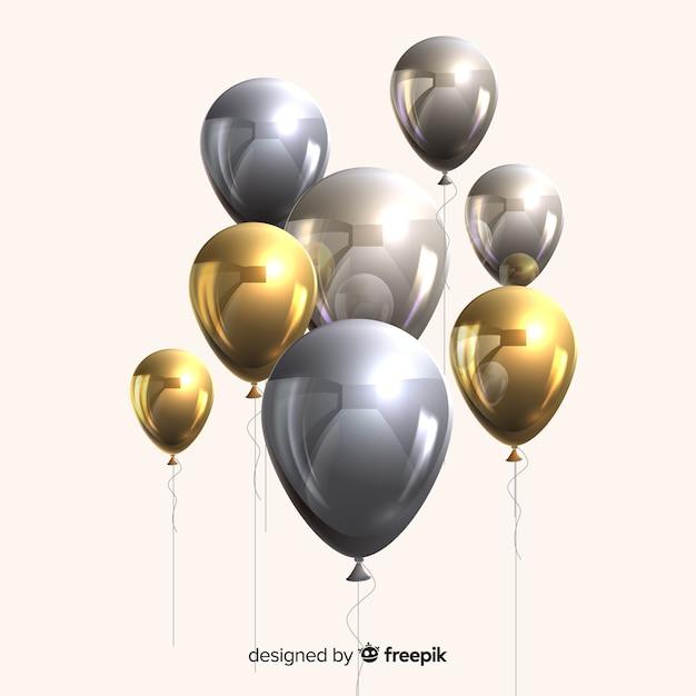 Effet 3d de ballons métalliques et dorés brillants Vecteur gratuit