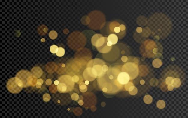 Effet Bokeh. élément De Paillettes Dorées Chaudes De Noël Pour Votre Conception. Illustration Isolée Sur Fond Transparent Vecteur Premium