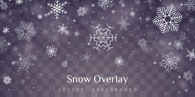 Effet de décoration transparent flocon de neige. Vecteur Premium