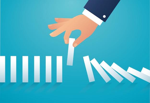 L'effet domino. concept d'entreprise Vecteur Premium