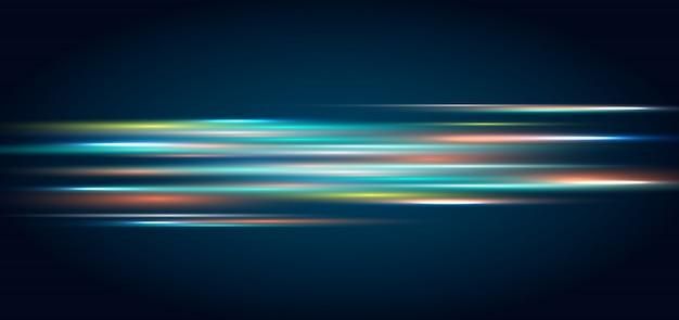 Effet D'éclairage De Technologie Abstraite Fond Bleu Foncé Vecteur Premium