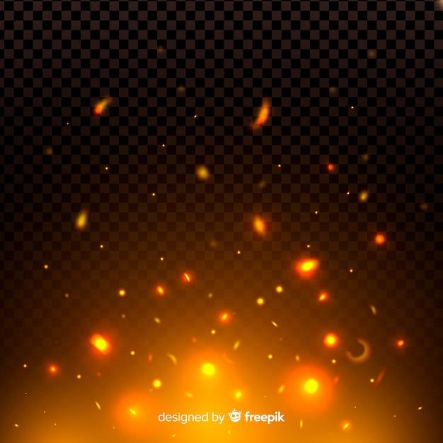 Effet d'étincelles et de particules de feu nocturne Vecteur gratuit