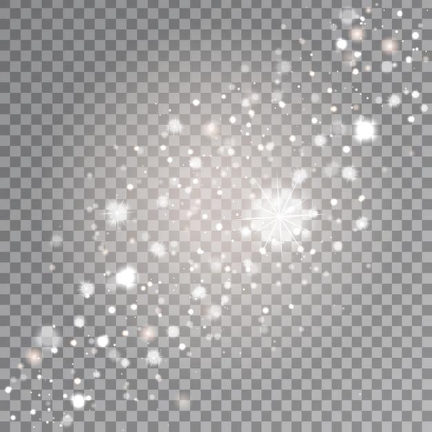Effet D'étoiles Scintillantes Blanches Sur Le Fond Transparent. Lumière Rougeoyante Réaliste Pour La Décoration. Vecteur Premium