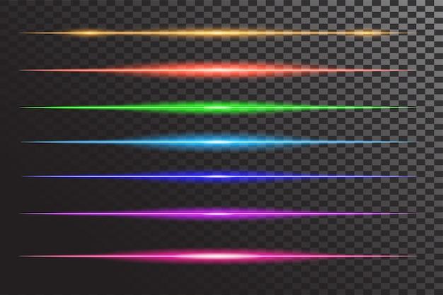 Effet flash ligne brillante horizontale Vecteur Premium
