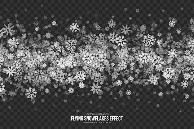 Effet flocons de neige volant transparent Vecteur Premium
