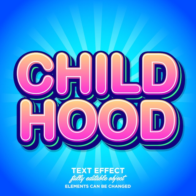 Effet de fonte d'enfance avec dégradé Vecteur Premium