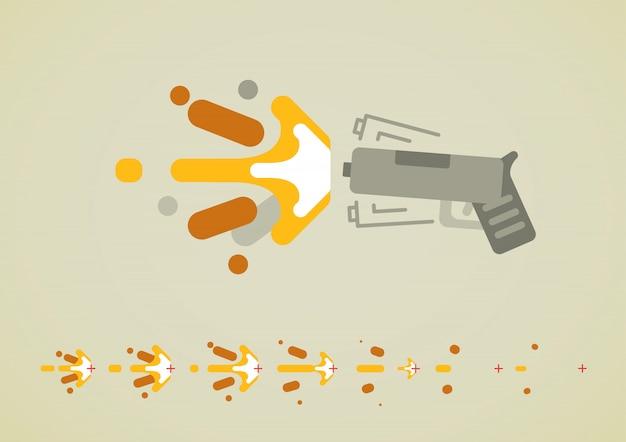 Effet de fusil pour jeux vidéo Vecteur Premium