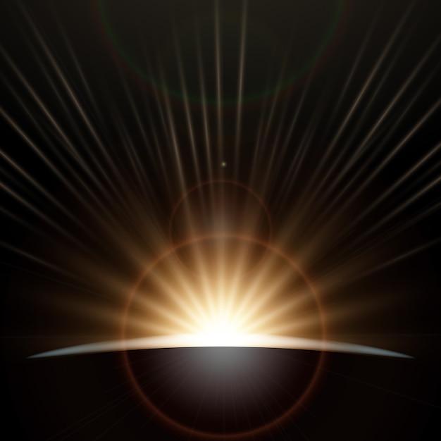 Effet De Lumière Au Lever Du Soleil Vecteur gratuit