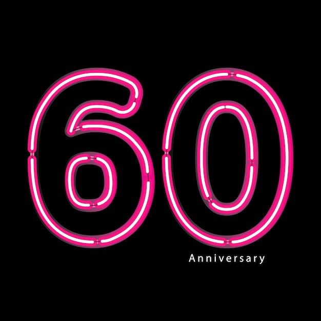 Effet de lumière au néon 60e anniversaire Vecteur Premium