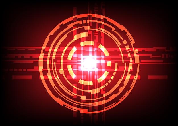 Effet de lumière cercle abstrait fond rouge foncé Vecteur Premium