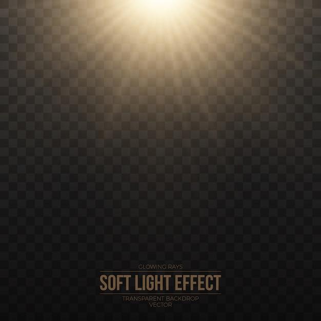 Effet de lumière douce dorée vecteur transparent Vecteur Premium