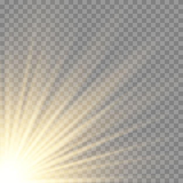 Effet De Lumière Du Flash à Lentille Spéciale Transparente à La Lumière Du Soleil. Vecteur Premium
