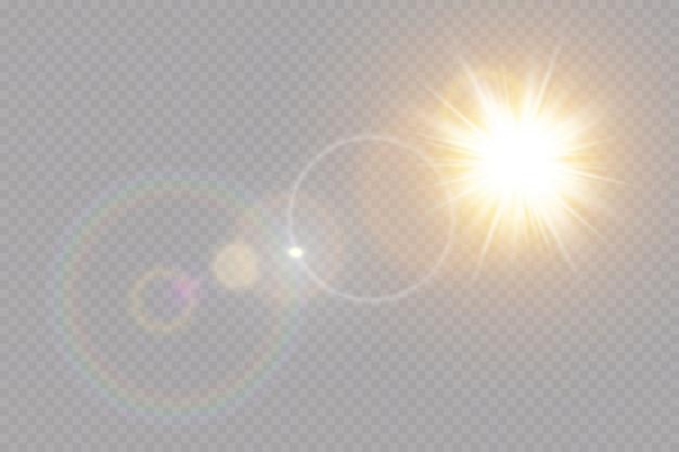 Effet De Lumière Flare Spécial Lentille Transparente. Vecteur Premium