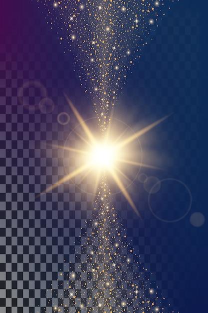 Effet de lumière glow étoiles éclate avec des étincelles. Vecteur Premium