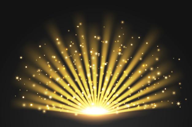Effet de lumière avec le lever du soleil Vecteur gratuit