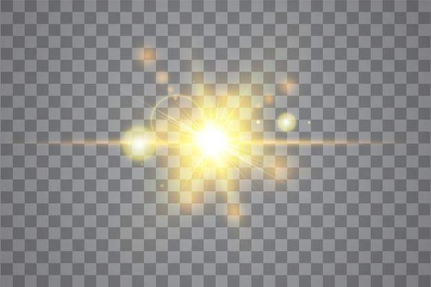 Effet De Lumière De Lumière Parasite Spéciale Lumière Du Soleil Transparent. Les Rayons Du Soleil Et Les Projecteurs. Fond De Soleil Translucide Avant Blanc. élément De Décor De Lueur Abstraite Flou. Star Burst. Vecteur Premium