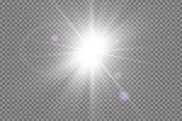 Effet De Lumière De Lumière Parasite Spéciale Lumière Du Soleil Transparent. Sun Flash Avec Des Rayons Et Des Projecteurs. Vecteur Premium
