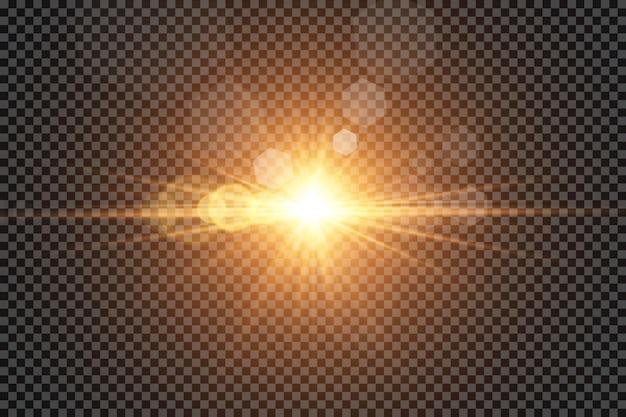 Effet De Lumière Luminescente. Soleil. Vecteur Premium