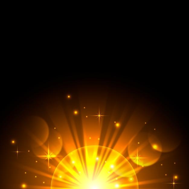 Effet De Lumière Magique Du Lever Du Soleil Scintillant Vecteur gratuit