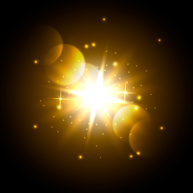 Effet de lumière scintillante du lever du soleil Vecteur gratuit