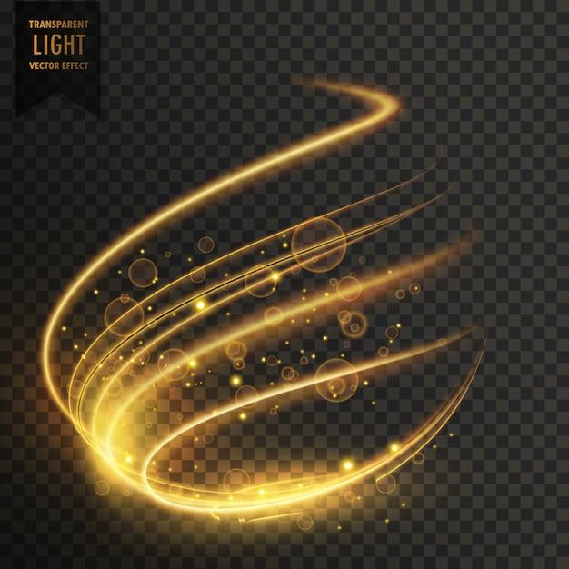 Effet de lumière transparent en couleur dorée Vecteur gratuit