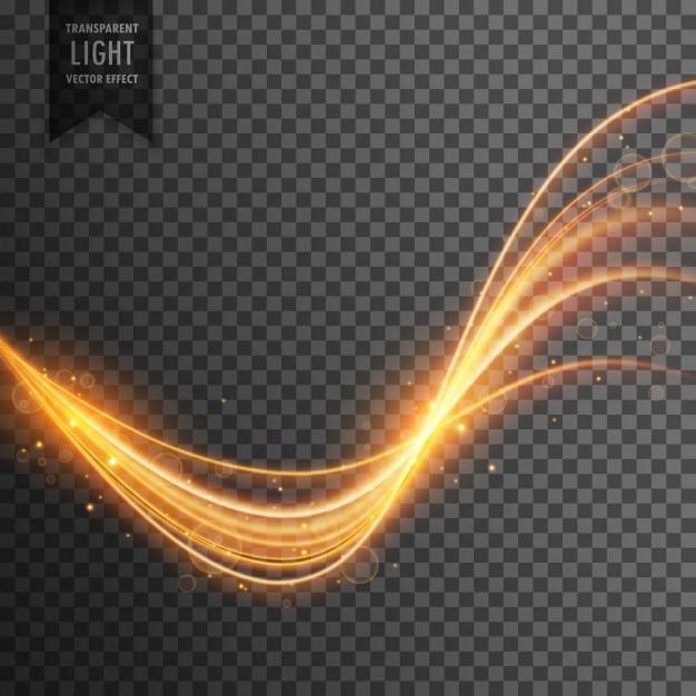 Effet de lumière transparent de couleur or Vecteur gratuit