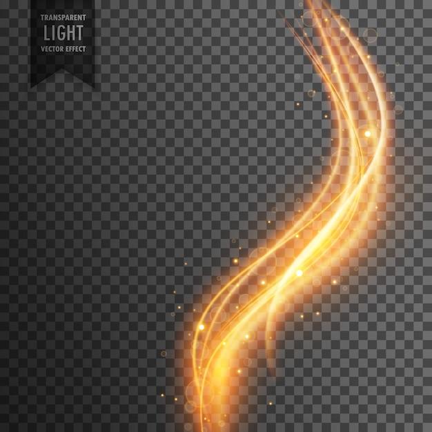 Effet de lumière transparent magique dans le style des vagues et des étincelles d'or Vecteur gratuit