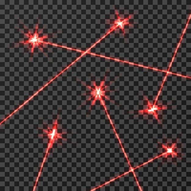 Effet de lumière de vecteur de rayons laser rouge isolé Vecteur Premium