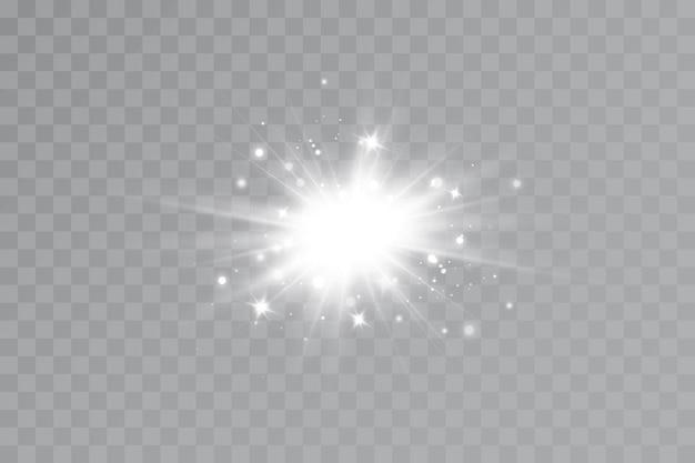 Effet Lumineux. étoile Brillante. La Lumière Explose Sur Un Fond Transparent. Soleil Brillant. Vecteur Premium