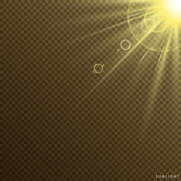 Effet lumineux spécial lumière du soleil Vecteur Premium