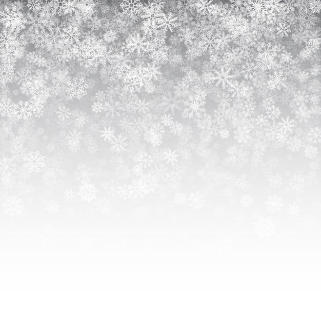 Effet de neige tombant fond blanc de noël Vecteur Premium