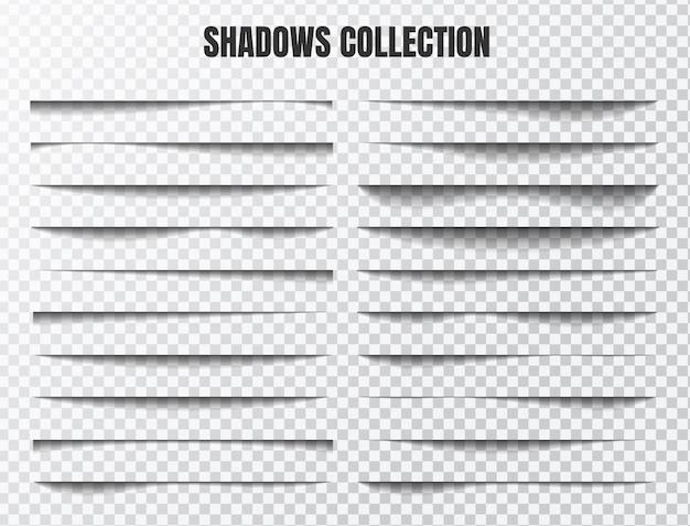 Effet d'ombre réaliste défini séparez les composants sur un arrière-plan transparent Vecteur Premium