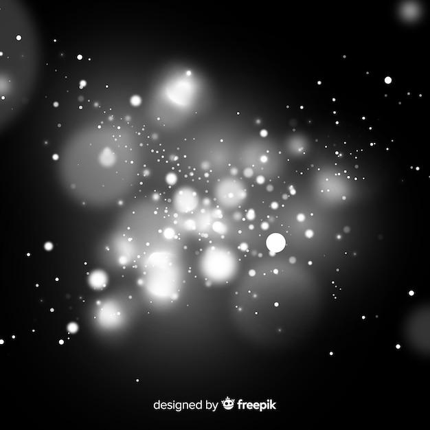 Effet de particules flottant noir et blanc Vecteur gratuit