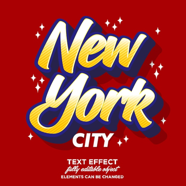 Effet de police autocollant new york Vecteur Premium