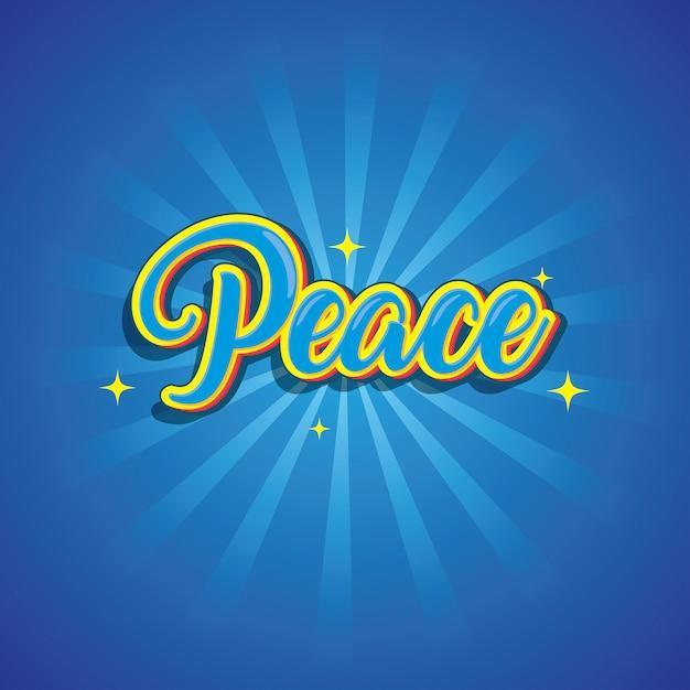 Effet de police logo texte de paix Vecteur Premium