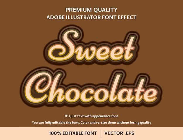 Effet De Police Modifiable Facile Au Chocolat Doux Vecteur Premium