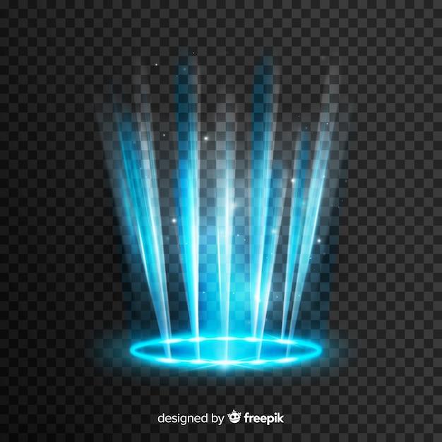 Effet Portail De Lumière Bleue Sur Fond Transparent Vecteur gratuit